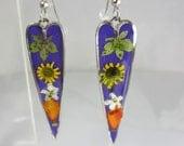 Flowers on Purple,   Real Flower Earrings, Long Heart Dangles,   Pressed Flower Jewelry (1910}