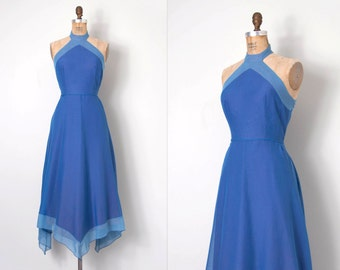 vintage 1970s dress / blue 70s halter dress / Baker Pond