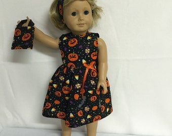 American Doll Girls Clothes or Most Other 18 Inch Dolls, Halloween Pumpkins Candy Bats Gold Sparkle Dress, Headband and Purse