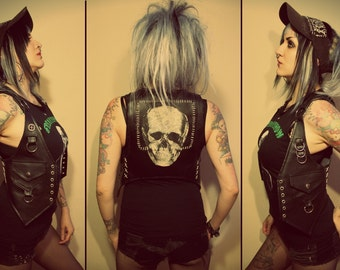 Kissin' Bombs skull fauxleather vest