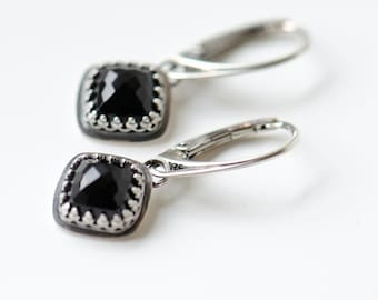 Black onyx earrings, dangly earrings sterling silver with leverbacks