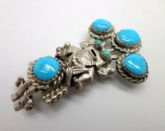 SALE Kachina Pin or Pendant Vintage Sterling Silver and Turquoise Southwestern Native American