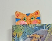 ATTENTION Booklovers! Cat Art Bookmark, Hand Carved Kitty. Ginger Tabby Cat. Polymer Clay Art. Benefits PA Cats. Worldwide Shipping.