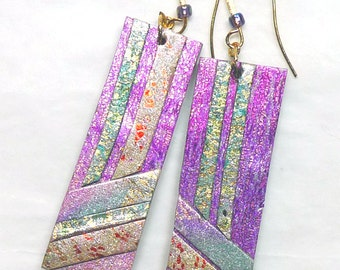 Polymer Clay Mosaic Earrings, Glitterati Collection, Art Deco. Special price Orig 22.00   Worldwide shipping.
