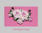 Necklace Bouquet of English Cottage Roses on adjustable crochet mercerized cotton cord    Romantic Rose Garden