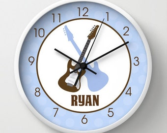 Rock Star Guitars Brown and Blue Nursery Rocker 10-inch Wall Clock / Choose frame color / Customize with Name