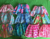 Lilly Pulitzer inspired girls skirts Tusk in Sun, Peel and Eat Flamingos, Lilly's Lagoon, Going Coastal, Rule Breakers, Stuffed Shells