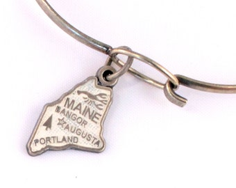 Maine State Love Charm Bracelet or Necklace