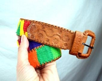 Vintage 80s Guatemala Southwest Woven Fabric Belt
