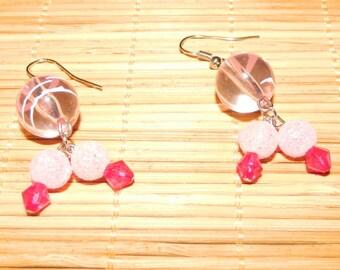 Pink Beaded Glass Earring