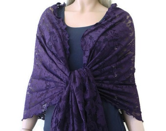 dark purple/Eggplant floral shawl Lace Neck and Shoulder scarf  woman shawl wrap -Pure Sophistication.