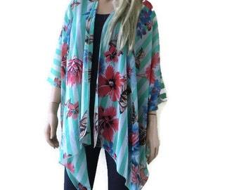 Kimono cardigan - Soft Green and white striped with red and blue floral -Chiffon Ruana cardigan
