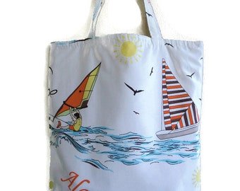 Globetrotter canvas tote bag with wind surfer and sailboat-beach bag- Book bag-School bag- Lined carry all tote bag