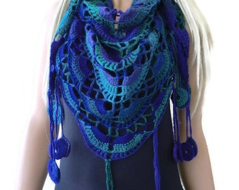 Bohemian crochet scarf- Dancing ocean-Teal Emerald green and Purples-multicolor Crochet lace scarf with fringes-Silk and mohair-Handmade