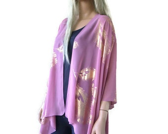Mauve pink Boho Kimono cardigan -Dusty pink/Mauve with gold peacock feather print-Chiffon Ruana cardigan
