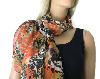 Seville Long chiffon scarf -Parisian Neck Tissu-Coral abstract print summer scarf