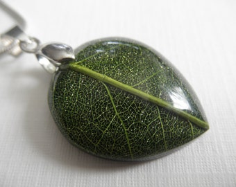 Green Skeleton Leaf Petite Teardrop Pendant-Intricate Woodsy, Earthy-Gifts Under 25-Symbolizes Peace,Tranquility, Serenity