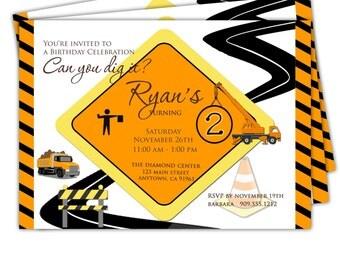 Digital File Print it Yourself/Birthday Invitation/Construction Invitation/Ryan design