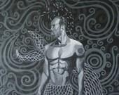 """12"""" × 18"""" Premordial beings I: Olukun (merman)"""