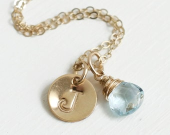 Gold Initial Necklace with Birthstone / December Birthstone Necklace / Personalized Initial Charm Necklace / December Birthday Gifts Women