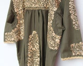 Long sleeved Olive green with gold embroidery Mexican Wedding Dress