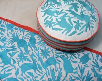 Round Aqua and coral Pouf  Ready to ship original Floor Cushion Pet Bed