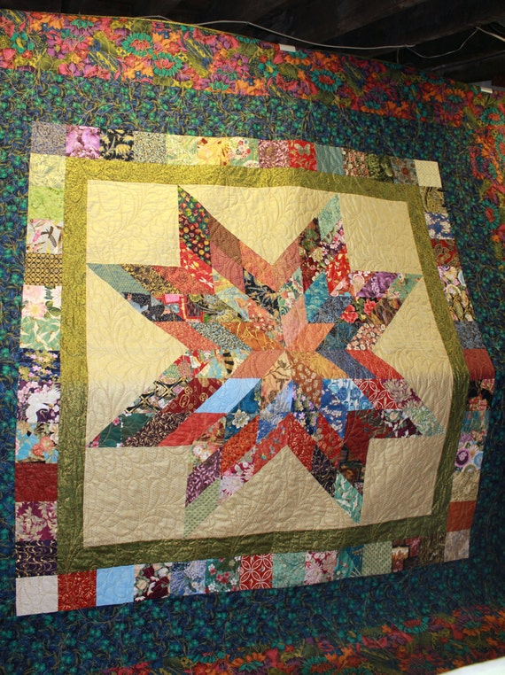 Lone Star Quilt Pattern Queen Size : Asian Metallic King Size Lone Star Quilt by carsondesign on Etsy