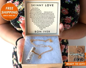 Love Song in a Bottle Necklace -  Skinny Love by Bon Iver - Music Bottle Necklace - Bon Iver - Anniversary Birthday - Gift Ready Ships fast!