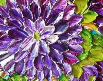Oil Painting Art Purple Dahlia Impasto Painting on Canvas