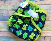 Funny Frogs Polyester PUL Cloth Diaper Cover With Aplix Hook & Loop Or Snaps You Pick Size XS/Newborn, Small, Medium, Large, or One Size