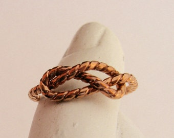 Infinity Ring // Copper Twisted Infinity Knot Ring 888cents