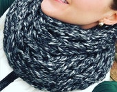 WINTER SPECIAL- Cozy Knit Infinity Scarf, Arm knit, graphite, black, Neck scarf, infinity scarf, knit scarf, circle scarf, fall, winter