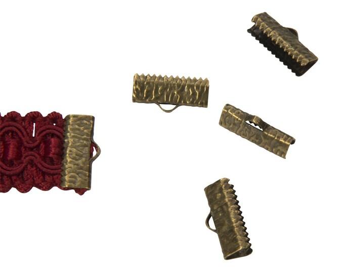 50pcs.  16mm (5/8 inch)  Antique Bronze Ribbon Clamp End Crimps - Artisan Series