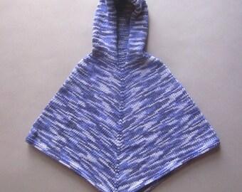 Vintage Hand knit Baby Poncho Purple Hoodie GirlsToddler Sweater