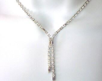 Vintage Rhinestone Lariat Necklace Bridal Jewelry Y necklace Formal Jewelry