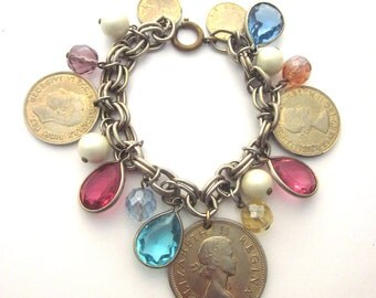 Vintage Charm Bracelet Coins Crystals South Africa Coins