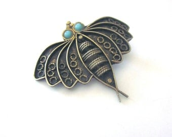 Sterling Silver Vintage Bee Brooch Insect Jewelry Russia