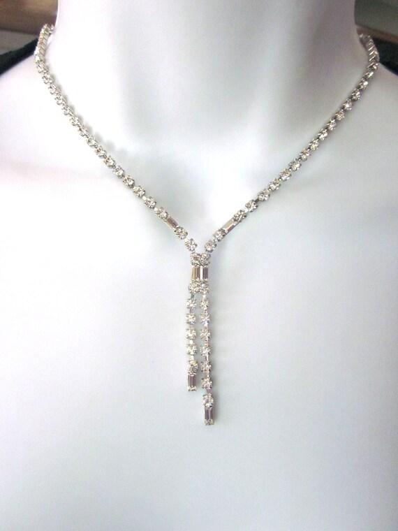 Vintage Rhinestone Lariat Necklace Bridal Jewelry Y Necklace