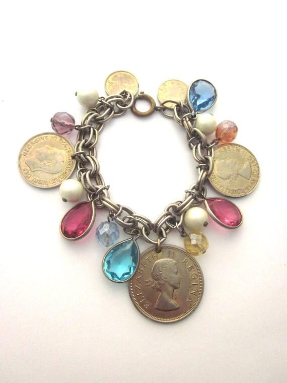Vintage Charm Bracelet Coins Crystals South Africa Coins