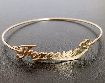 Forever Bracelet Bangle, Forever Jewelry, Gold Bangle Bracelet, Gold Bracelet Bangle, Forever Charm Bracelet, Forever Bangle Bracelet