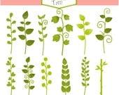 ON SALE leaf clip art - cute leave clip art,spring botanical clip art, garden leafs clip art, instant download clip art, Plant Clip Art