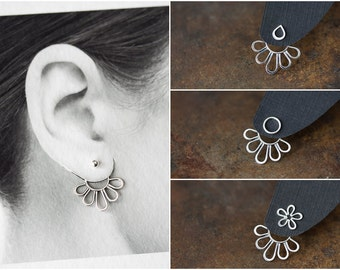 NEW Minimalist Silver Ear Jacket, Modern minimal sterling silver petals outline, mix and match stud earrings, handmade artisan jewelry