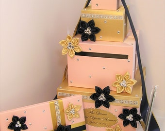 Wedding Card Box,4 Sets,4 tier Blush Pink ,Gold and Navy Blue Card Box,Guest book and Pen/Pen Holder Gift Box -Customize your color