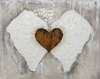 Angel Wings Wall Decor Rusted Heart Painting