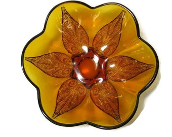 Amber Glass Serving Bowl