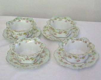 Antique M Z Austria Custard Cups and Saucers, Fine Bone Porcelain China Shabby Green and Pink Roses, Dessert Berry Bowl with Underplate