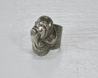 Vintage Chunky Napier Ring, Silver Tone Metal with incised Thick Band, Raised Scrolls and Swirls, Oxidized Silver,