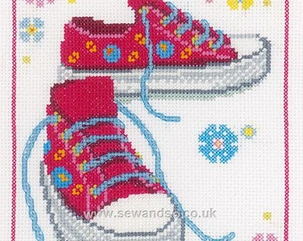 Vervaco Pink Sneakers cross stitch KIT. Unopened. Would be a lovely gift when completed.