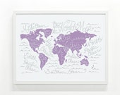 Reserved Listing for Kelly *** World Map Poster -  18 x 24 Handprinted Map Print, Wall Art, Typography Illustration