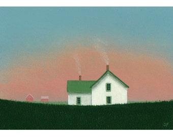 "FARM HOUSE Folk Art Painting STUDY Sunset painting Old Farmhouse 5 x 7"" Barn Landscape Cottage Original Art Gift Birthday Country art Folk"
